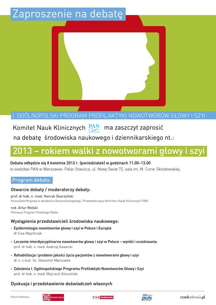 Zaproszenie nadebatę – Ogólnopolski program profilaktyki nowotworów głowy iszyi
